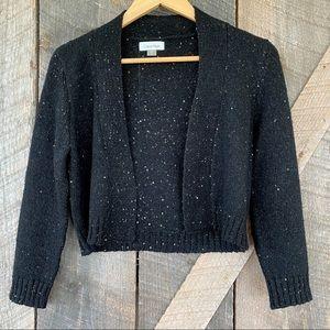Calvin Klein black wool blend shrug with sequins